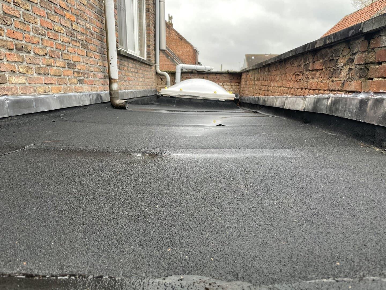 Gerenoveerd plat dak met lichtkoepel